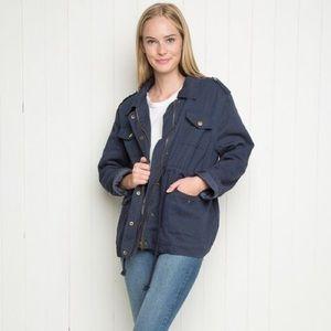 Brandy Melville Doris Navy Sherpa Lined Jacket